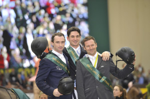 The top three finishers in the €250,000 Rolex Top 10 Final, from left to right, Denis Lynch of Ireland (second), Steve Guerdat of Switzerland (winner), and Eric Lamaze (third). Photo Courtesy of Rolex