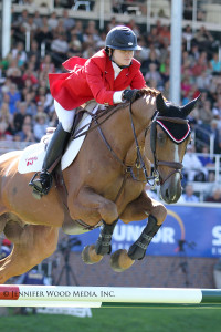 Tiffany Foster and Southwind VDL made their Canadian Equestrian Team debut, riding as members of the second-place team in the $350,000 BMO Nations' Cup at Spruce Meadows. Photo by Jennifer Wood Media