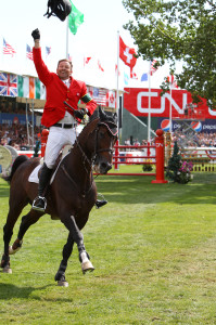 "Olympic Champions Eric Lamaze and Hickstead won the $1 million CN International on Sunday, September 11, at the Spruce Meadows ""Masters"" Tournament in Calgary, AB. Photo by Bob Langrish"