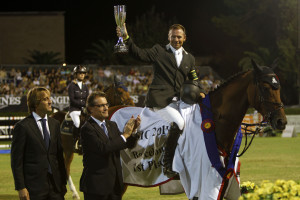 Eric Lamaze is presented as the winner of the €100,000 Grand Prix of Barcelona on September 23 at CSIO5* Barcelona, Spain. Photo By Artur Mas