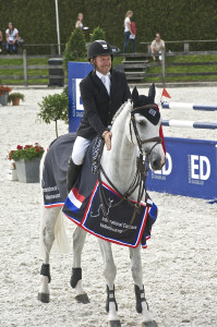 2008 Canadian Olympic champion Eric Lamaze, pictured here with Cristalina, scored two victories in Valkenswaard, The Netherlands, on August 16. Photo by Photo by Global Champions Tour