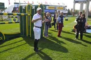 "Rolex testimonee Eric Lamaze conducted a guided course walk on opening day of the Spruce Meadows ""Masters"" tournament in Calgary, Alberta. Photo by Kit Houghton/Rolex"