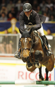 Leading International Rider and Leading Canadian Rider, Eric Lamaze, guided Take Off to the Leading Canadian Horse title at the 2008 Royal Horse Show. Photo by Cealy Tetley